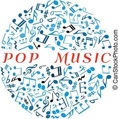 balle, notes, disco, marques, symbole, musican