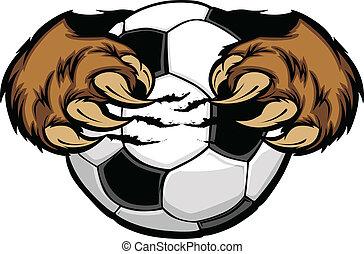 balle, ours griffe, football, vecteur