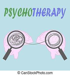 balle, psychologie, concept., illustration, enchevêtré, depression., head., psychothérapie, homme, illustration.