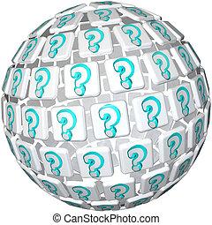 balle, question, -, marque, sphère, curiosité, confusion