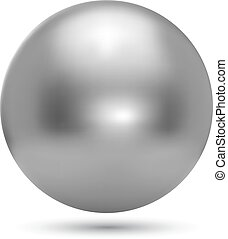 balle, réaliste, chrome, isolé, illustration, arrière-plan., vecteur, blanc