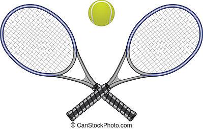 balle, raquettes tennis, &