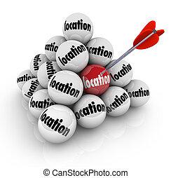 balle, secteur, beaucoup, choix, pyramide, endroit, choisir, mieux, emplacement