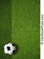 balle, sommet, champ, fond, football, vue