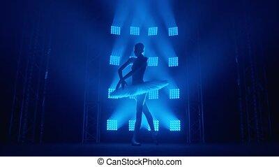 ballerine, blanc, rayons, bleu, girl, mouvement, vous, pointe, tournoiements, silhouette, autour de, tutu, lent, fumée, ballet, classroom., gracieux, séance entraînement, light., danseur