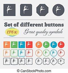 ballerine, buttons., ensemble, high-quality, ballet, danse, grand, signe., coloré, vecteur, divers, girl, icône
