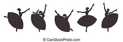 ballerine, danse, set., classique, dance., silhouettes, girls.