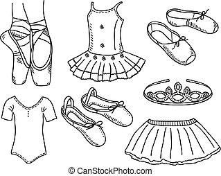 ballerine, ensemble, accessoires