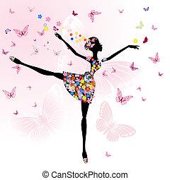ballerine, girl, fleurs, papillons
