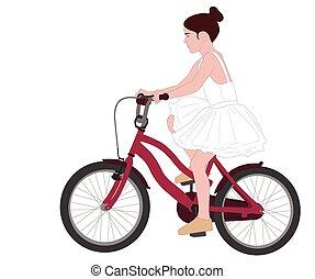 ballerine, illustration, vélo, peu