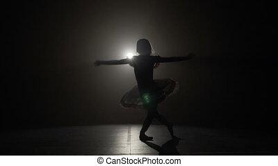 ballerine, lent, silhouette, mouvement, vénération, gracieux, maigre