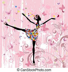 ballerine, papillons, fleurs, grunge, girl