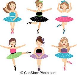 ballerine, peu, ensemble, filles
