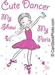 ballerine, peu, fée, illustration, heureux