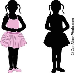 ballerine, peu, silhouette, poser