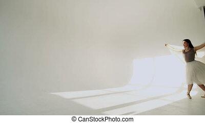 ballerine, silhouette, classique, blanc, tutu, studio.