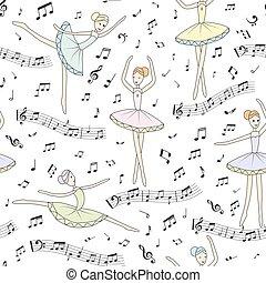 ballerines, danse, modèle, seamless, arrière-plan., vecteur, floral