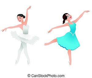 ballerines, deux, jeune