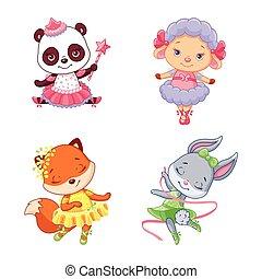 ballerines, peu, animaux, ensemble, dessin animé