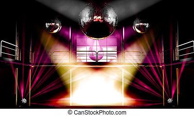 balles, discothèque, coloré, club, disco allume, nuit