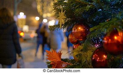 balles, guirlande, arbre, décoration, lumières, fond, pendre, noël