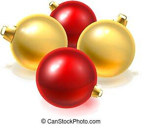 balles, or, babiole, ornements, noël, rouges