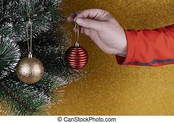 balles or, noël, rouges, personne, placer, décorations, arbre
