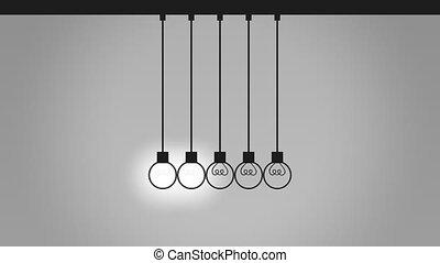 balles, pendule, bulb-like, communication, capable, seamless, contact, idée, animation, équilibrage, 4k, cradle., wires., newton's, concepts., boucle