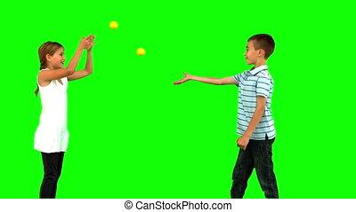 balles, tennis, jouer, frères soeurs
