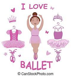 ballet, ballerine, pointe, tutus, habillement, chaussures, vecteur, image, diadème
