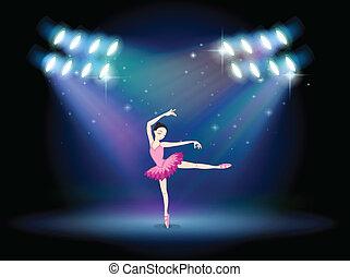 ballet, femme, projecteurs, danse