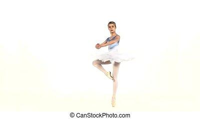 ballet, mouvement, blanc, portrait, lent, pose, ballerine