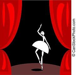 ballet, scène abstraite, sombre, danseur, blanc rouge