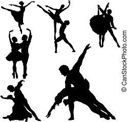 ballet, silhouettes