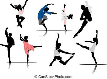 ballet, vecteur, dancers., illustration, femme