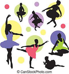 ballet, vecteur, ensemble, silhouettes