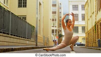 ballet, ville, ballerine, rue, pratiquer, 4k, danse, jeune