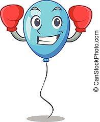 ballon bleu, boxe, forme, anniversaire, dessin animé