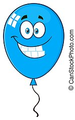 ballon bleu, caractère, sourire, dessin animé, mascotte