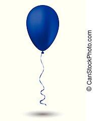ballon bleu, fond blanc