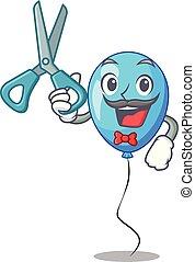 ballon bleu, forme, anniversaire, coiffeur, dessin animé