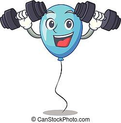 ballon bleu, forme, anniversaire, fitness, dessin animé