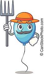 ballon bleu, forme, anniversaire, paysan, dessin animé