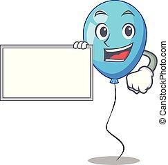 ballon bleu, forme, anniversaire, planche, dessin animé