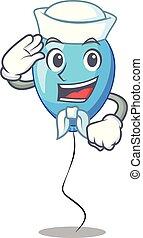 ballon bleu, forme, marin, anniversaire, dessin animé