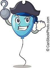 ballon bleu, pirate, forme, anniversaire, dessin animé
