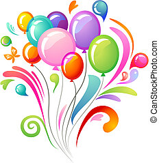 ballons, éclaboussure, coloré