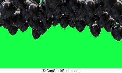 ballons, écran, plafond, noir, arrière-plan vert