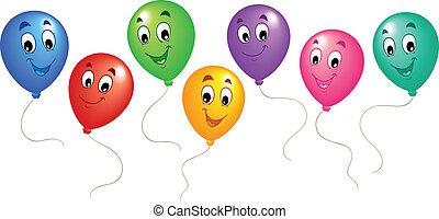 ballons, 3, groupe, dessin animé