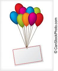 ballons, blanc, anniversaire, editable, étiquette
